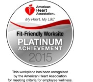 fit friendly worksite platinum awarded by american heart association 2015