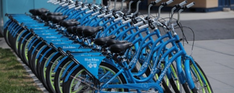 over 20 blue bikes parked for use at downtown buffalo